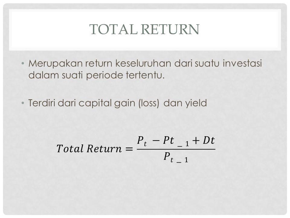 TOTAL RETURN Contoh soal 1: Dividen setahun yang dibayarkan adalah sebesar Rp120.