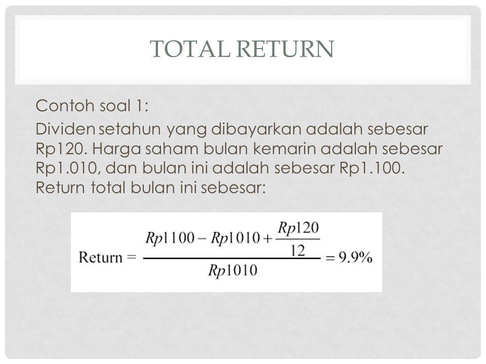 Contoh kasus: Return sebesar 17% yang diterima setahun dari sebuah surat berharga jika disesuaikan dengan tingkat inflasi sebesar 5 % untuk tahun yang sama, akan memberikan return riil sebesar: TR(ia) = [(1+0,17)/(1+0,05)]-1 = 0,114 atau 11,4%.
