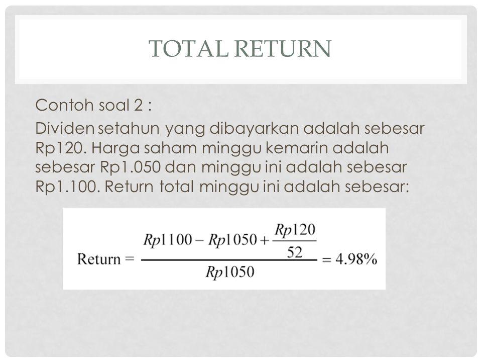 Periode Harga Saham (Pt) Dividen (Dt) Return (Rt) 20001750100 200117551000,060 *) 200217901000,077 200318101500,095 200420101500,193 200519052000,047 *) R 2001 = (1.775 – 1.750 + 100)/1.750