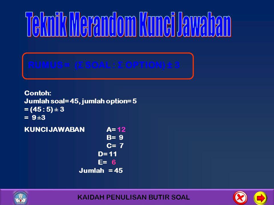 KAIDAH PENULISAN BUTIR SOAL Contoh: Jumlah soal= 45, jumlah option= 5 = (45 : 5) ± 3 = 9 ±3 KUNCI JAWABAN A= 12 B= 9 C= 7 D= 11 E= 6 Jumlah = 45 RUMUS