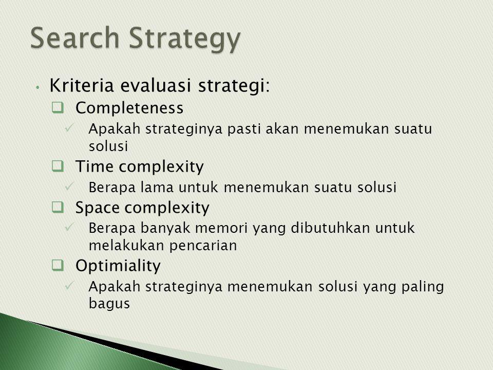 • Kriteria evaluasi strategi:  Completeness  Apakah strateginya pasti akan menemukan suatu solusi  Time complexity  Berapa lama untuk menemukan su
