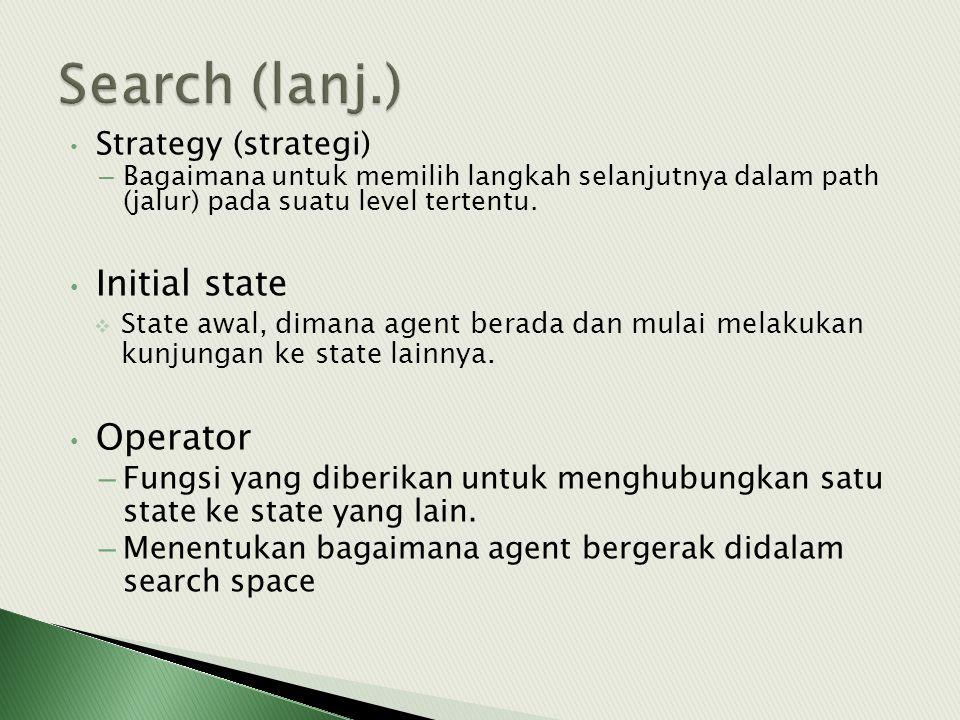 • Strategy (strategi) – Bagaimana untuk memilih langkah selanjutnya dalam path (jalur) pada suatu level tertentu. • Initial state  State awal, dimana
