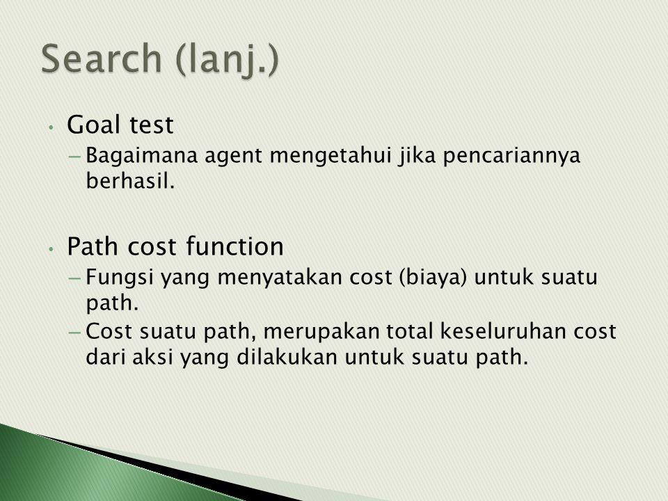 • Goal test – Bagaimana agent mengetahui jika pencariannya berhasil. • Path cost function – Fungsi yang menyatakan cost (biaya) untuk suatu path. – Co