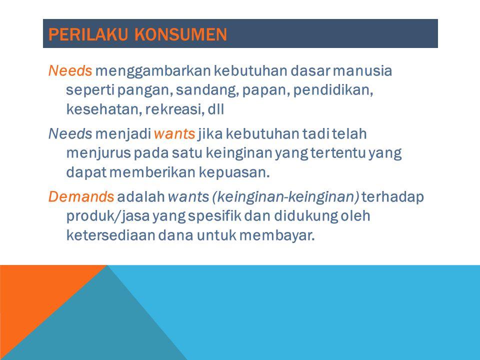 PERILAKU KONSUMEN Needs menggambarkan kebutuhan dasar manusia seperti pangan, sandang, papan, pendidikan, kesehatan, rekreasi, dll Needs menjadi wants