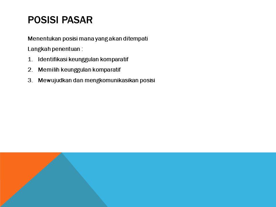 POSISI PASAR Menentukan posisi mana yang akan ditempati Langkah penentuan : 1.Identifikasi keunggulan komparatif 2.Memilih keunggulan komparatif 3.Mew