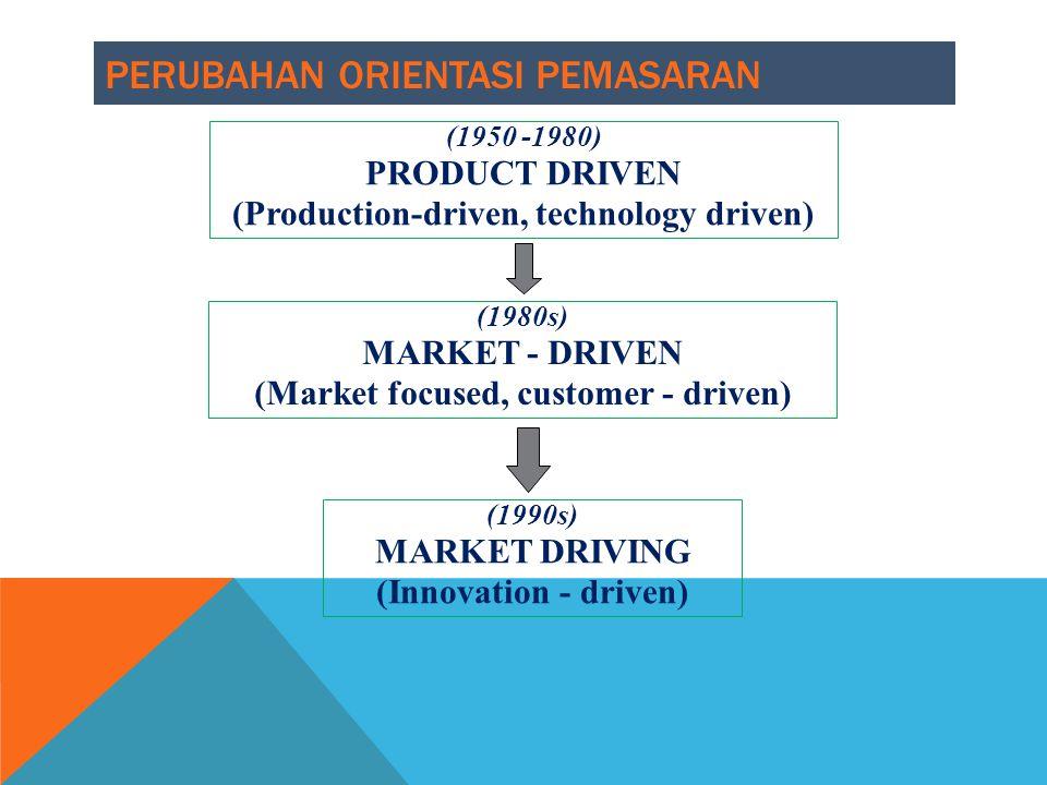 PERUBAHAN ORIENTASI PEMASARAN (1950 -1980) PRODUCT DRIVEN (Production-driven, technology driven) (1980s) MARKET - DRIVEN (Market focused, customer - d