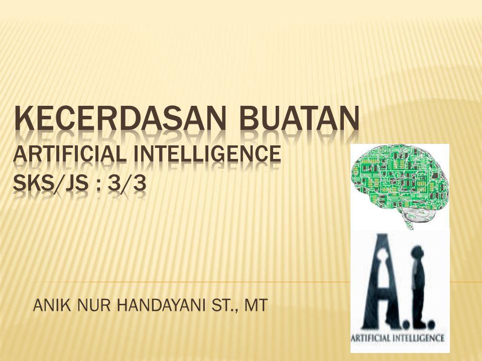  Mata Kuliah:Kecerdasan Buatan (Artificial Intelligence/AI)  Deskripsi Mengenai Kecerdasan Buatan Kecerdasan buatan atau dalam bahasa inggrisnya Artificial Intelligence sering disingkat dengan AI yang merupakan cabang terpenting dalam dunia komputer.