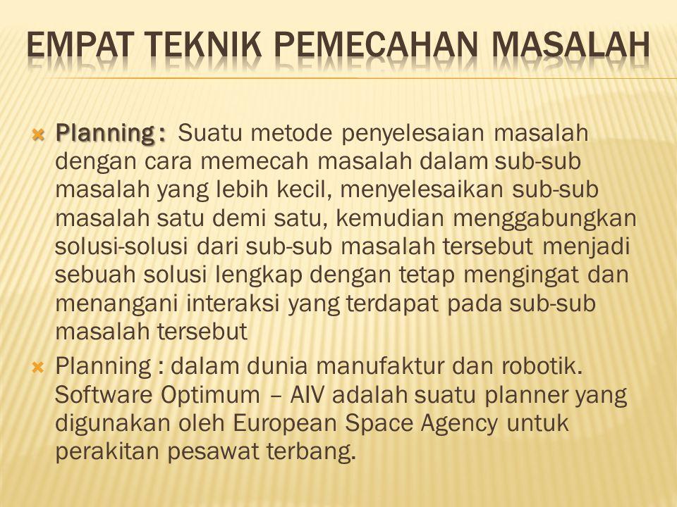  Planning :  Planning : Suatu metode penyelesaian masalah dengan cara memecah masalah dalam sub-sub masalah yang lebih kecil, menyelesaikan sub-sub