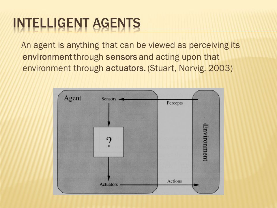 An agent is anything that can be viewed as perceiving its environment through sensors and acting upon that environment through actuators. (Stuart, Nor