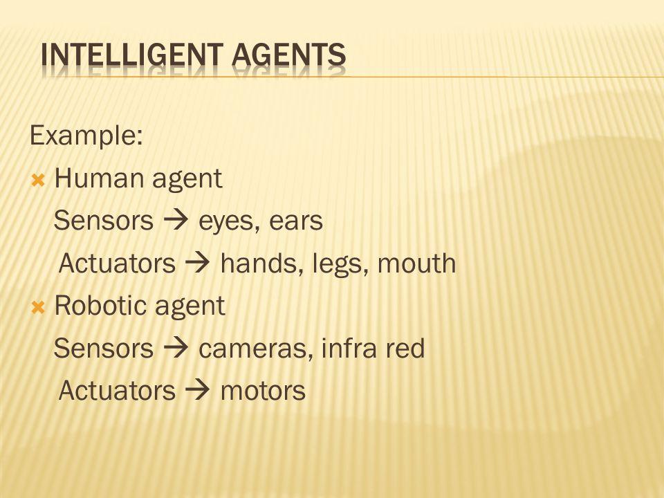 Example:  Human agent Sensors  eyes, ears Actuators  hands, legs, mouth  Robotic agent Sensors  cameras, infra red Actuators  motors