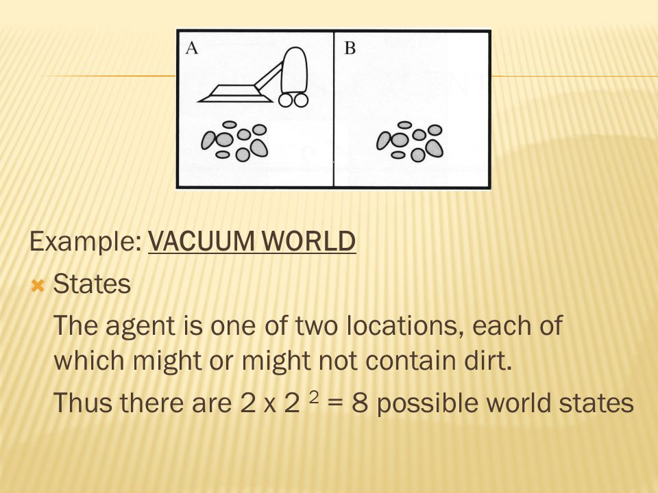 Example: VACUUM WORLD  States The agent is one of two locations, each of which might or might not contain dirt. Thus there are 2 x 2 2 = 8 possible w