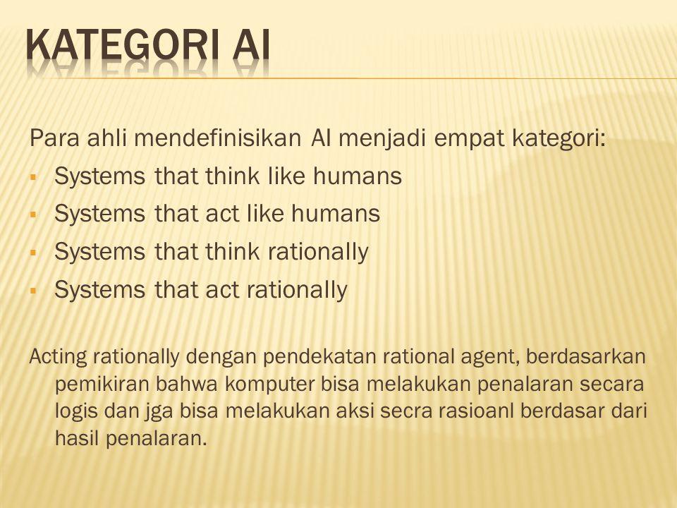Para ahli mendefinisikan AI menjadi empat kategori:  Systems that think like humans  Systems that act like humans  Systems that think rationally 