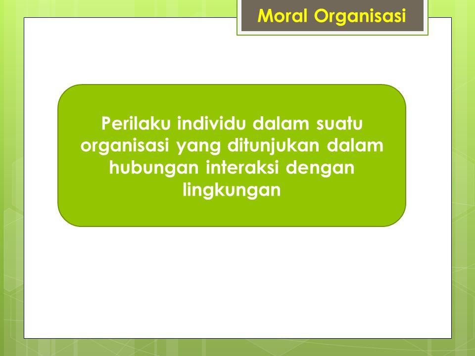 Moral Organisasi Perilaku individu dalam suatu organisasi yang ditunjukan dalam hubungan interaksi dengan lingkungan