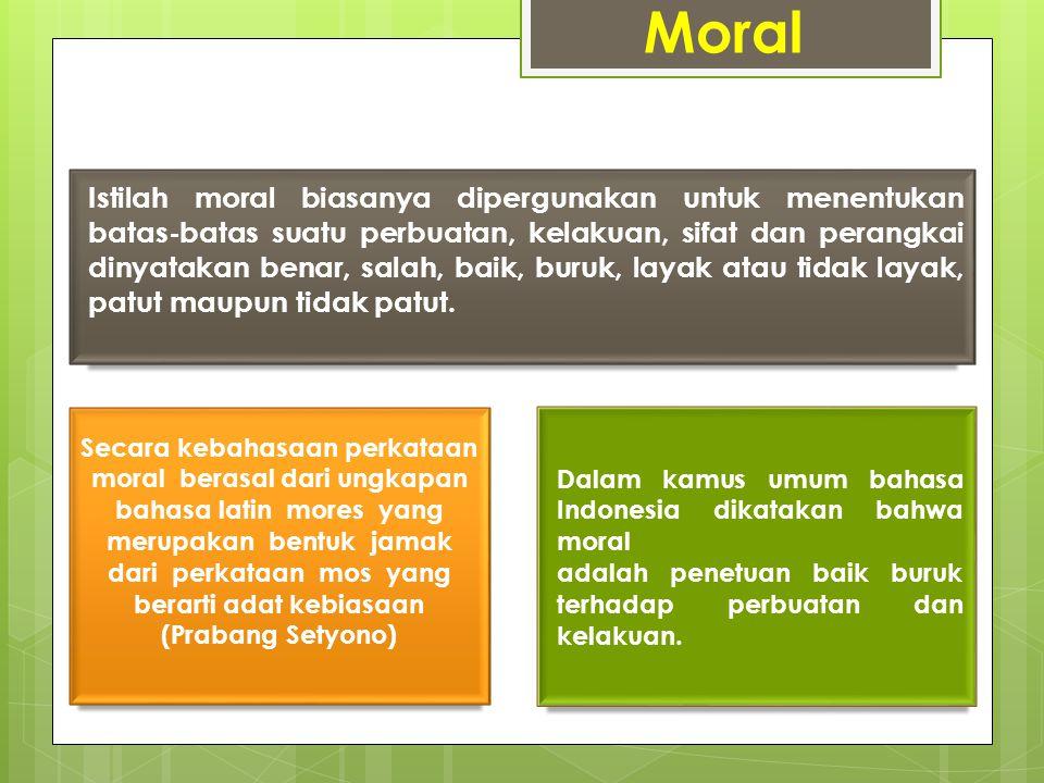 Moral Secara kebahasaan perkataan moral berasal dari ungkapan bahasa latin mores yang merupakan bentuk jamak dari perkataan mos yang berarti adat kebi
