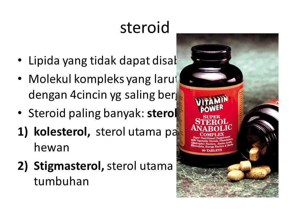 steroid • Lipida yang tidak dapat disabunkan • Molekul kompleks yang larut dalam lemak dengan 4cincin yg saling bergabung • Steroid paling banyak: sterol 1)kolesterol, sterol utama pada jaringan hewan 2)Stigmasterol, sterol utama pada jaringan tumbuhan