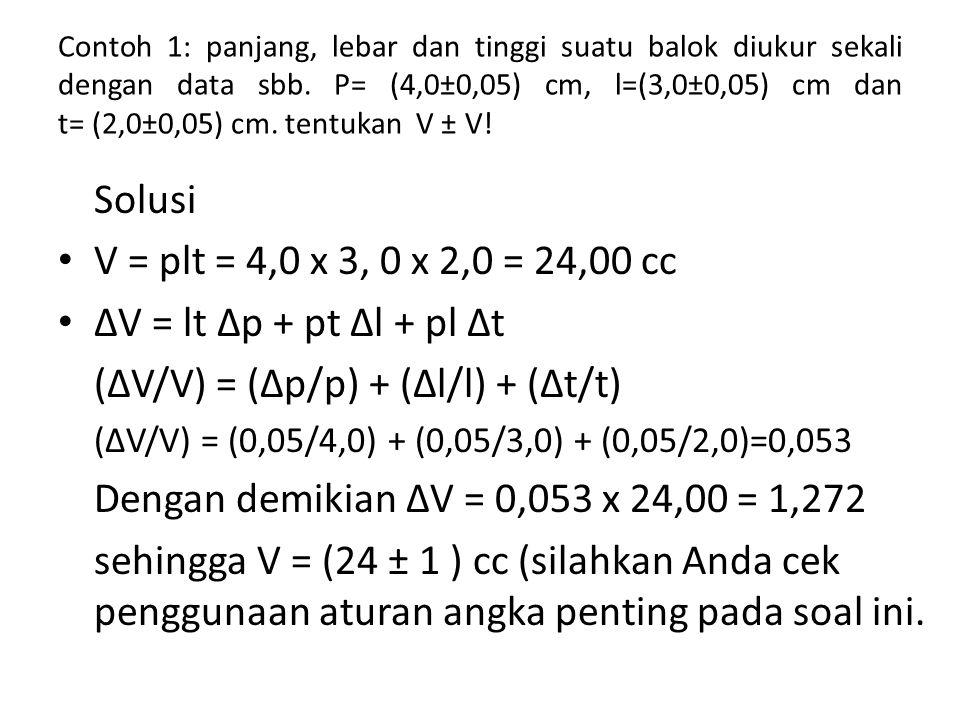 Contoh 1: panjang, lebar dan tinggi suatu balok diukur sekali dengan data sbb. P= (4,0±0,05) cm, l=(3,0±0,05) cm dan t= (2,0±0,05) cm. tentukan V ± V!
