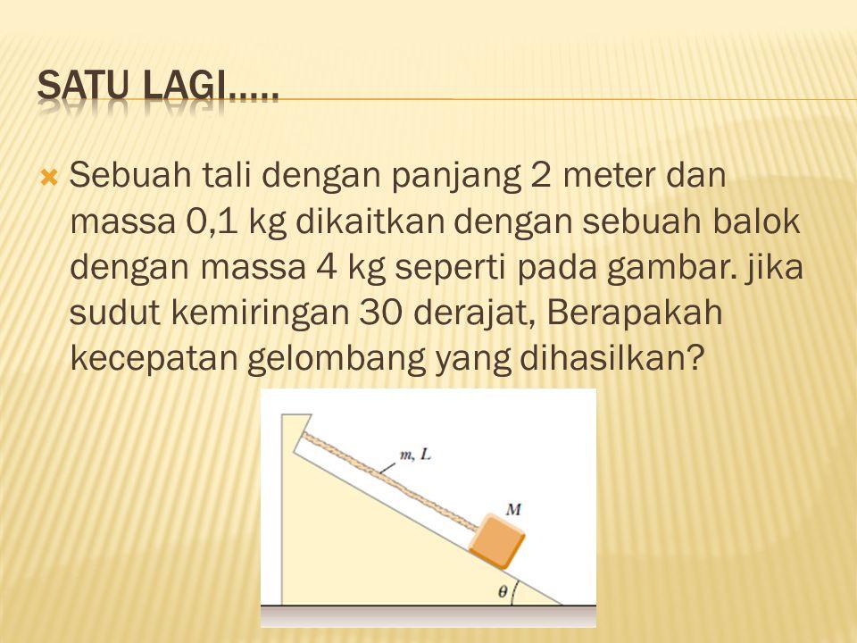  Sebuah tali dengan panjang 2 meter dan massa 0,1 kg dikaitkan dengan sebuah balok dengan massa 4 kg seperti pada gambar. jika sudut kemiringan 30 de