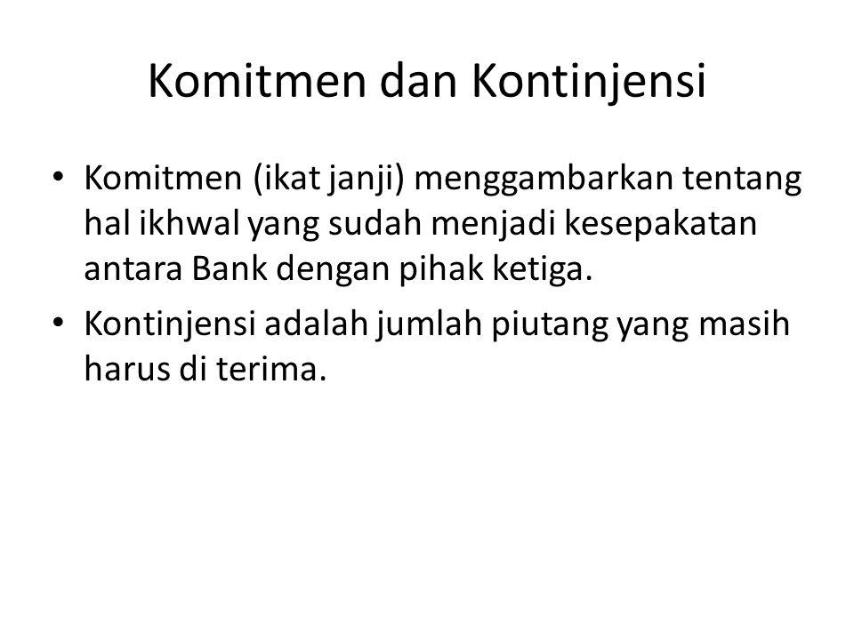 Komitmen dan Kontinjensi • Komitmen (ikat janji) menggambarkan tentang hal ikhwal yang sudah menjadi kesepakatan antara Bank dengan pihak ketiga.