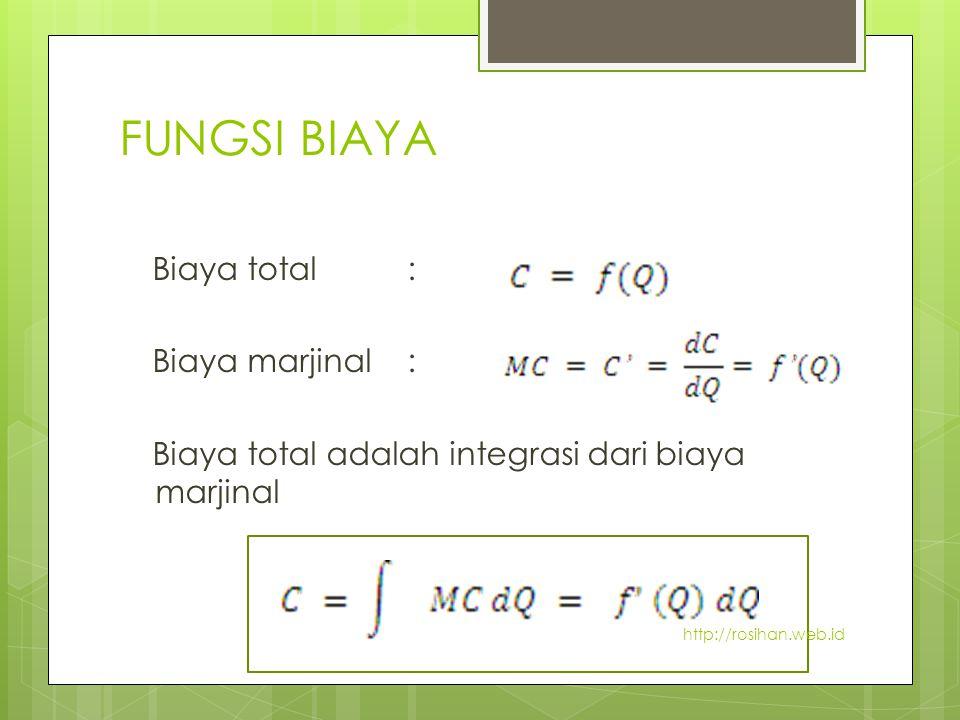 FUNGSI BIAYA Biaya total: Biaya marjinal : Biaya total adalah integrasi dari biaya marjinal http://rosihan.web.id