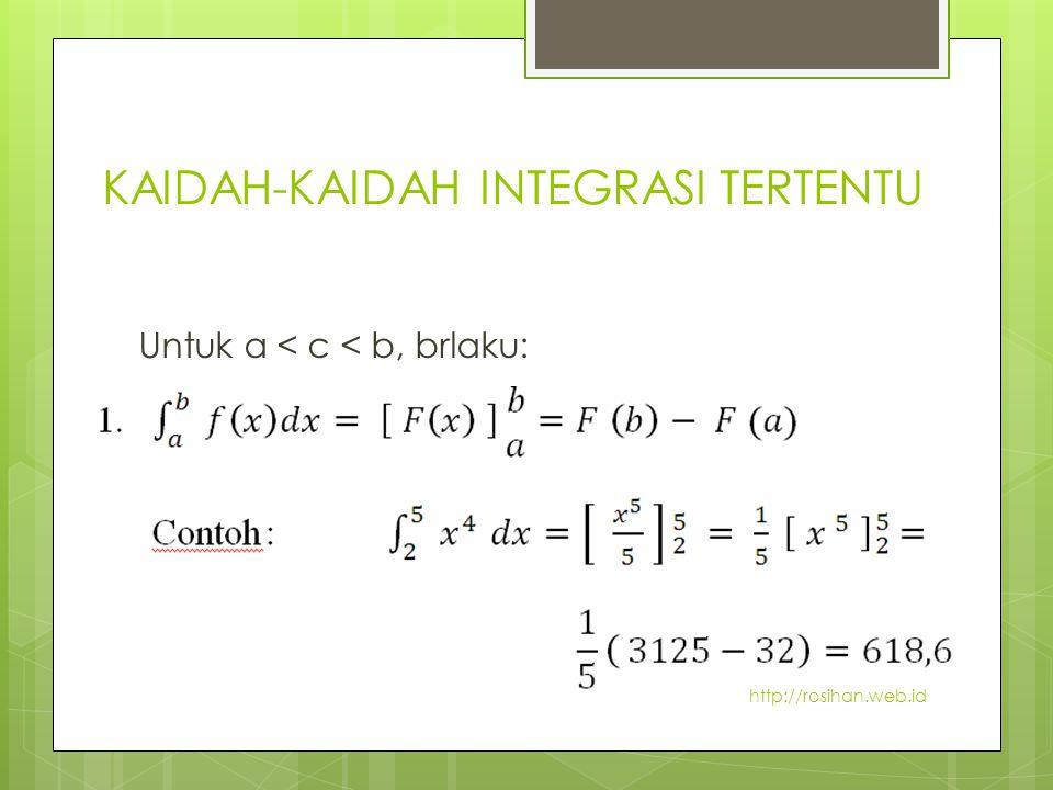 KAIDAH-KAIDAH INTEGRASI TERTENTU Untuk a < c < b, brlaku: http://rosihan.web.id
