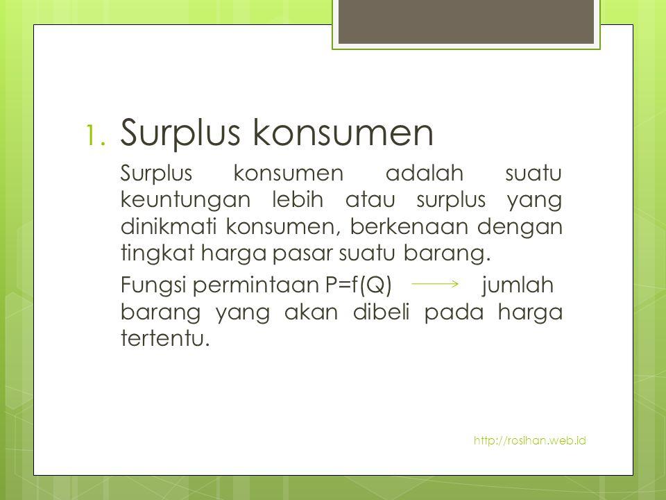 1. Surplus konsumen Surplus konsumen adalah suatu keuntungan lebih atau surplus yang dinikmati konsumen, berkenaan dengan tingkat harga pasar suatu ba