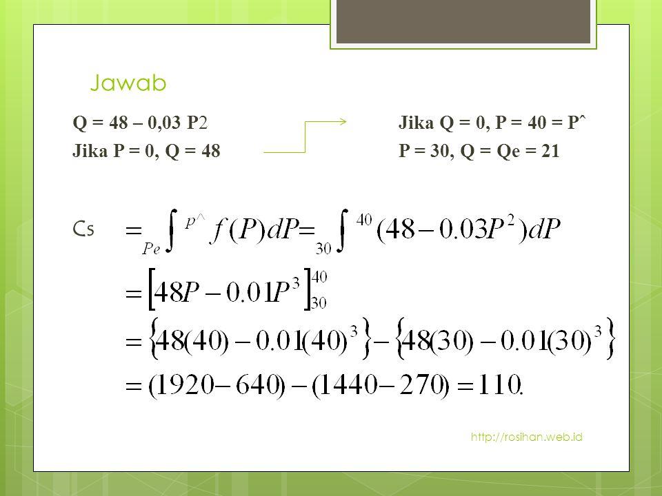 Jawab Q = 48 – 0,03 P2Jika Q = 0, P = 40 = Pˆ Jika P = 0, Q = 48P = 30, Q = Qe = 21 Cs http://rosihan.web.id