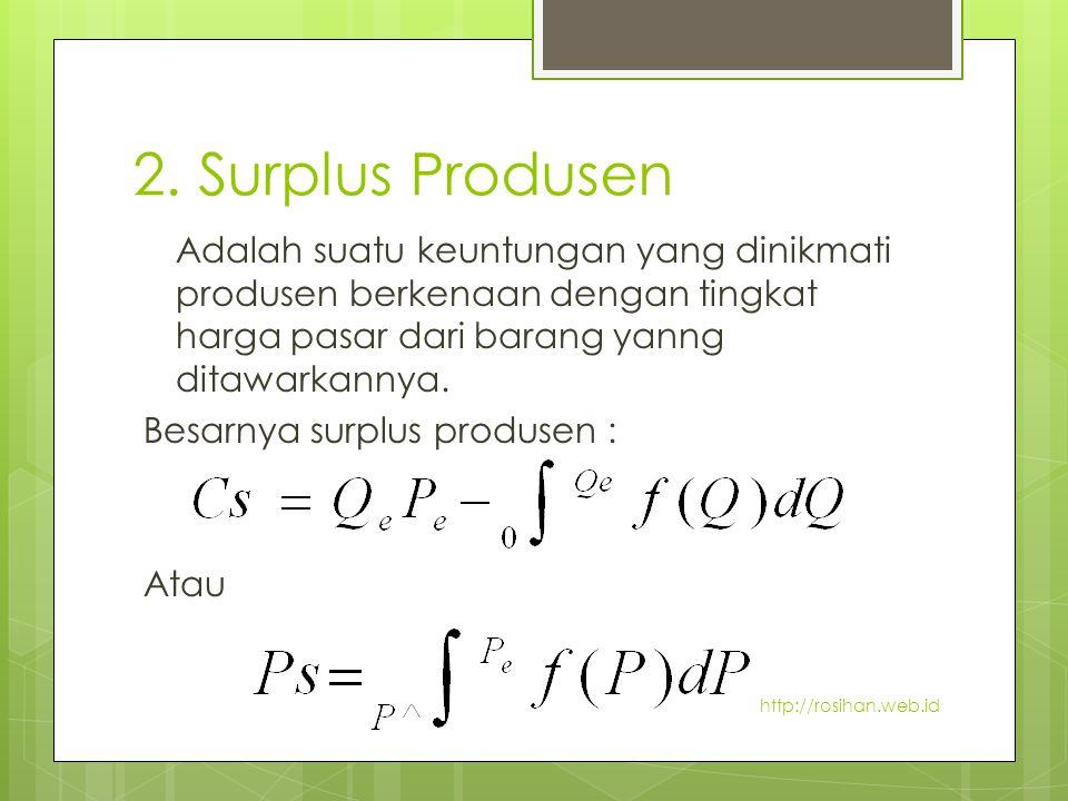 2. Surplus Produsen Adalah suatu keuntungan yang dinikmati produsen berkenaan dengan tingkat harga pasar dari barang yanng ditawarkannya. Besarnya sur