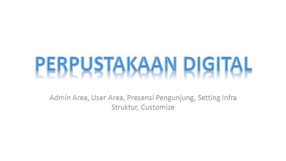 Admin Area, User Area, Presensi Pengunjung, Setting Infra Struktur, Customize