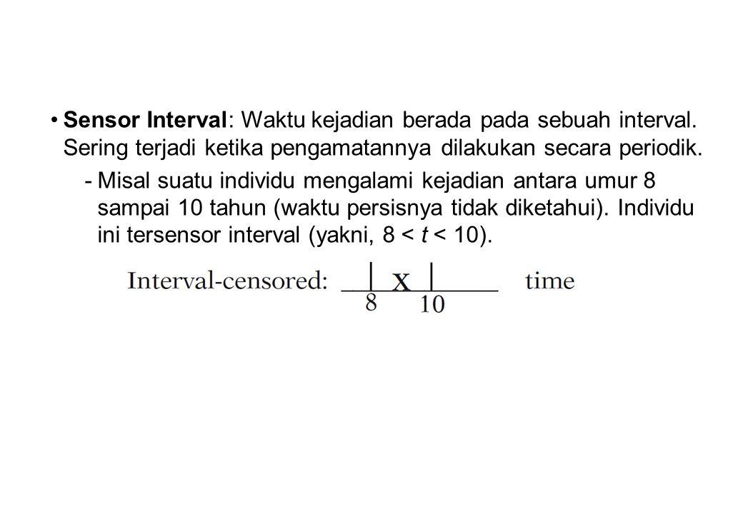 •Sensor Interval: Waktu kejadian berada pada sebuah interval. Sering terjadi ketika pengamatannya dilakukan secara periodik. -Misal suatu individu men