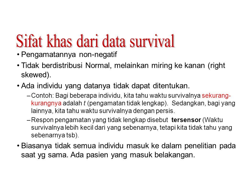 •Sensor Kanan: waktu survivalnya lebih lama dari pada waktu sensor –Pasien tsb belum mengalami kejadian yg diteliti saat penelitian berakhir –Pasien tidak mengontak lagi (lost to follow-up) selama masa penelitian –Pasien keluar dari penelitian