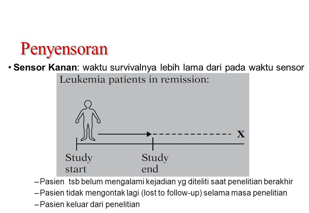 •Sensor Kanan: waktu survivalnya lebih lama dari pada waktu sensor –Pasien tsb belum mengalami kejadian yg diteliti saat penelitian berakhir –Pasien t