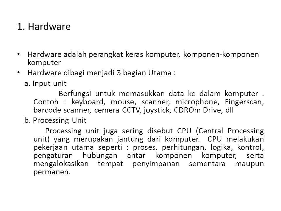 1. Hardware • Hardware adalah perangkat keras komputer, komponen-komponen komputer • Hardware dibagi menjadi 3 bagian Utama : a. Input unit Berfungsi