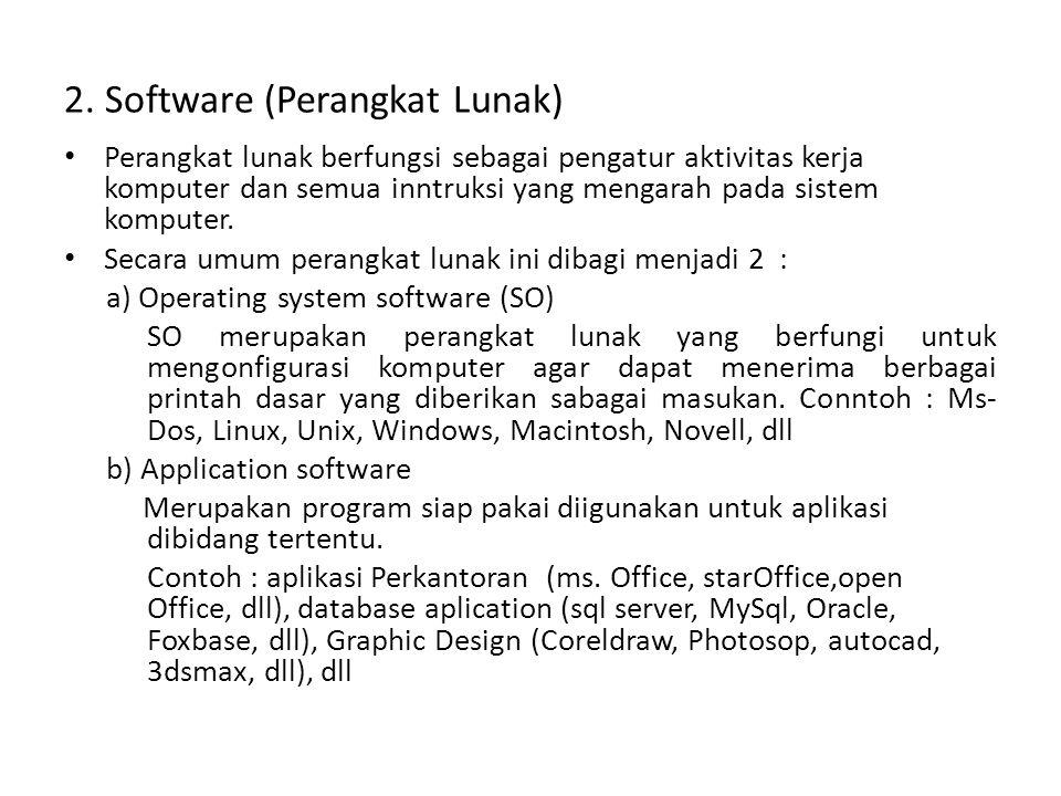 2. Software (Perangkat Lunak) • Perangkat lunak berfungsi sebagai pengatur aktivitas kerja komputer dan semua inntruksi yang mengarah pada sistem komp