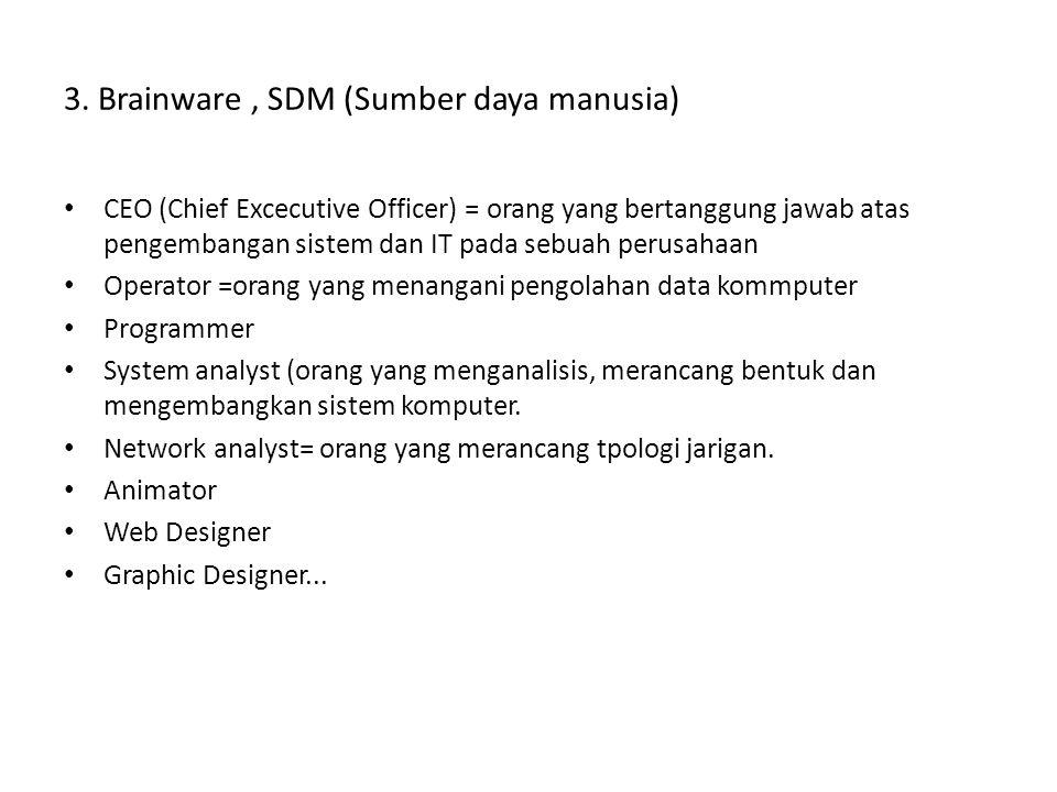 3. Brainware, SDM (Sumber daya manusia) • CEO (Chief Excecutive Officer) = orang yang bertanggung jawab atas pengembangan sistem dan IT pada sebuah pe