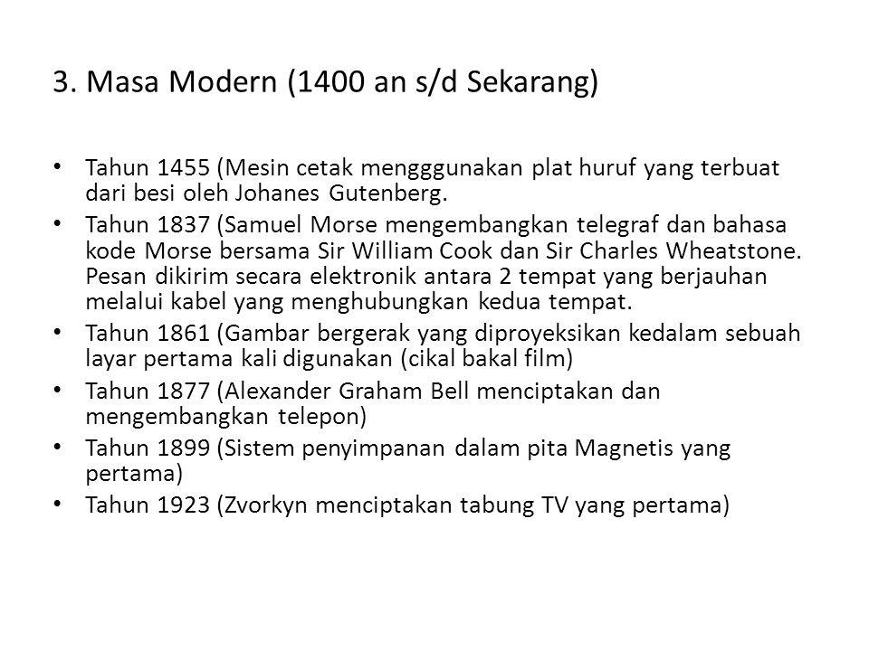 3. Masa Modern (1400 an s/d Sekarang) • Tahun 1455 (Mesin cetak mengggunakan plat huruf yang terbuat dari besi oleh Johanes Gutenberg. • Tahun 1837 (S
