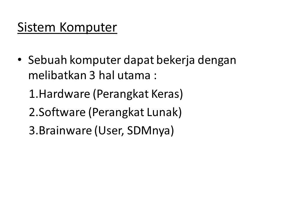 Sistem Komputer • Sebuah komputer dapat bekerja dengan melibatkan 3 hal utama : 1.Hardware (Perangkat Keras) 2.Software (Perangkat Lunak) 3.Brainware