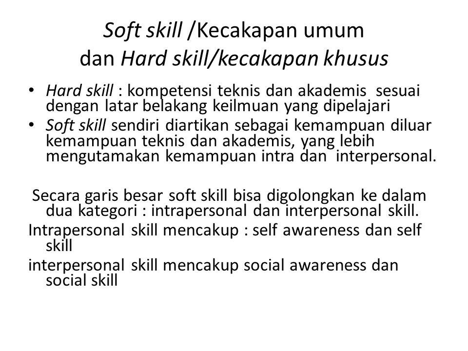 Soft skill /Kecakapan umum dan Hard skill/kecakapan khusus • Hard skill : kompetensi teknis dan akademis sesuai dengan latar belakang keilmuan yang dipelajari • Soft skill sendiri diartikan sebagai kemampuan diluar kemampuan teknis dan akademis, yang lebih mengutamakan kemampuan intra dan interpersonal.