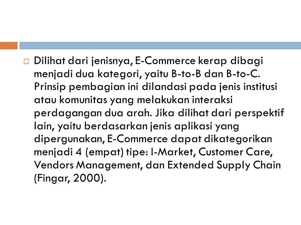  Dilihat dari jenisnya, E-Commerce kerap dibagi menjadi dua kategori, yaitu B-to-B dan B-to-C. Prinsip pembagian ini dilandasi pada jenis institusi a
