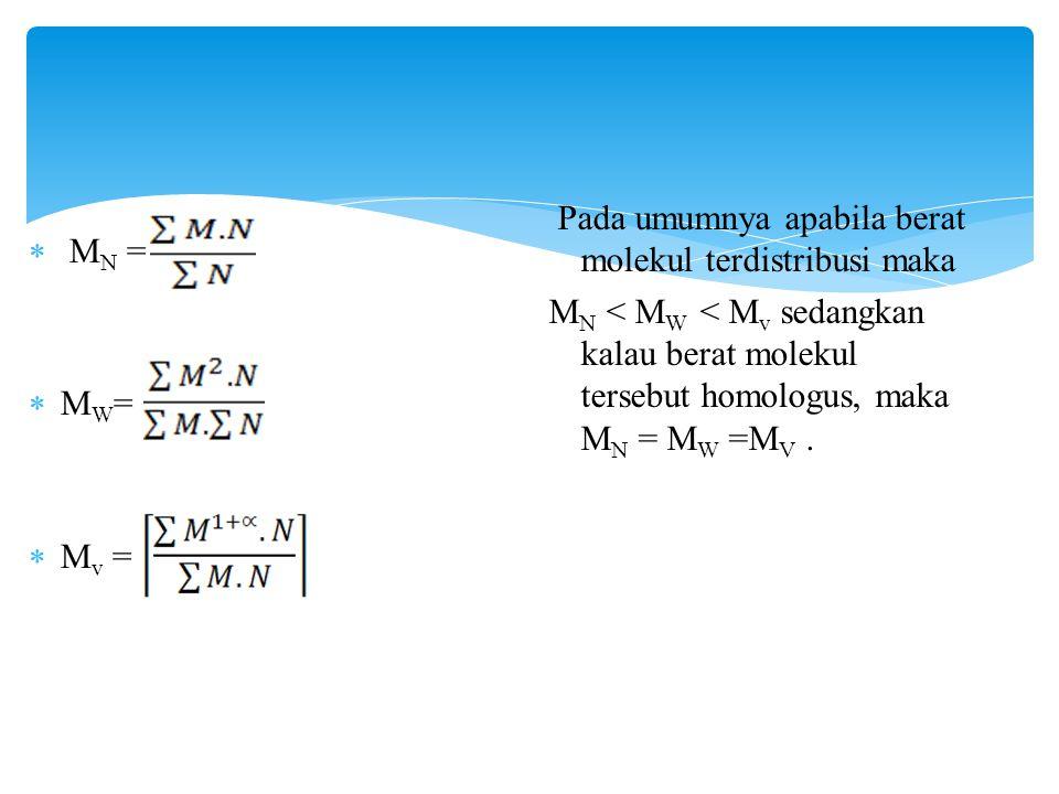  M N =  M W =  M v = Pada umumnya apabila berat molekul terdistribusi maka M N < M W < M v sedangkan kalau berat molekul tersebut homologus, maka M