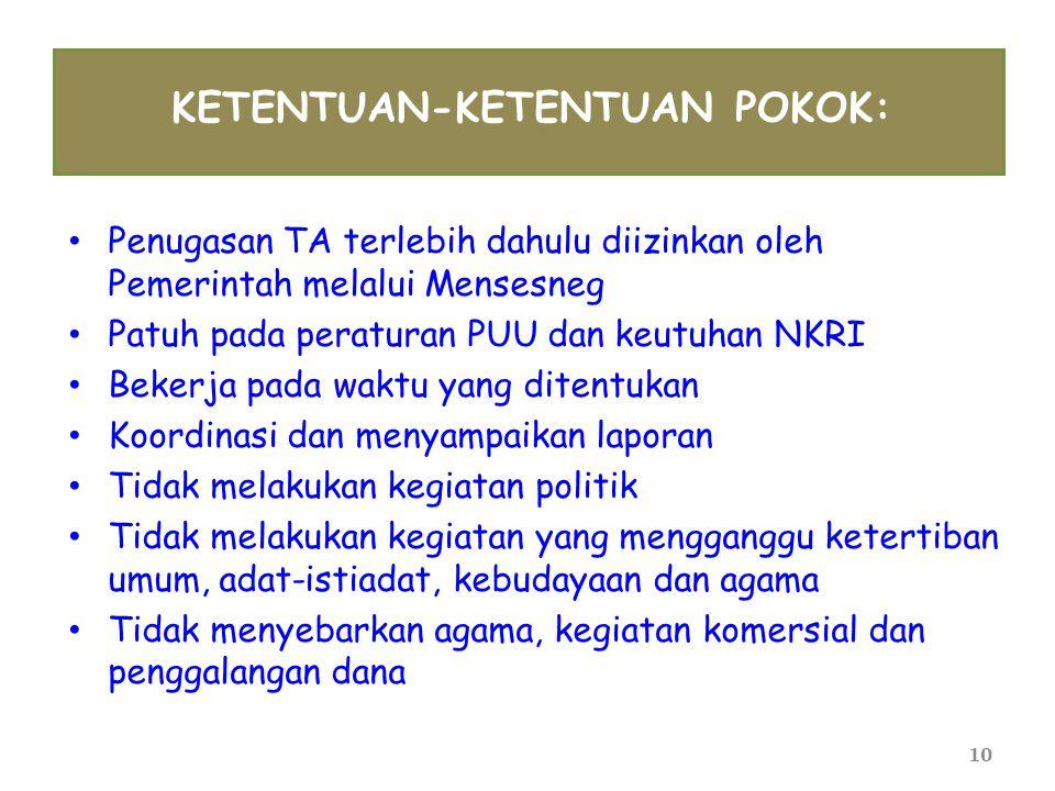 10 KETENTUAN-KETENTUAN POKOK: • Penugasan TA terlebih dahulu diizinkan oleh Pemerintah melalui Mensesneg • Patuh pada peraturan PUU dan keutuhan NKRI
