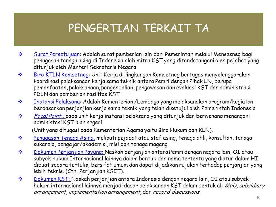 8 PENGERTIAN TERKAIT TA  Surat Persetujuan: Adalah surat pemberian izin dari Pemerintah melalui Mensesneg bagi penugasan tenaga asing di Indonesia ol