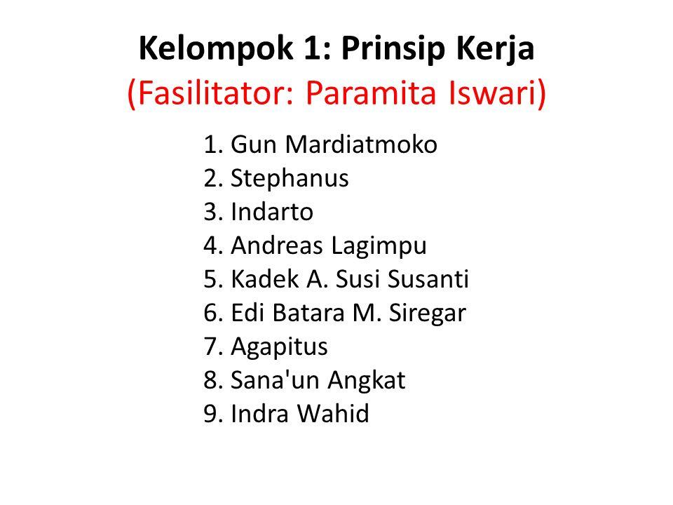 Kelompok 1: Prinsip Kerja (Fasilitator: Paramita Iswari) 1. Gun Mardiatmoko 2. Stephanus 3. Indarto 4. Andreas Lagimpu 5. Kadek A. Susi Susanti 6. Edi