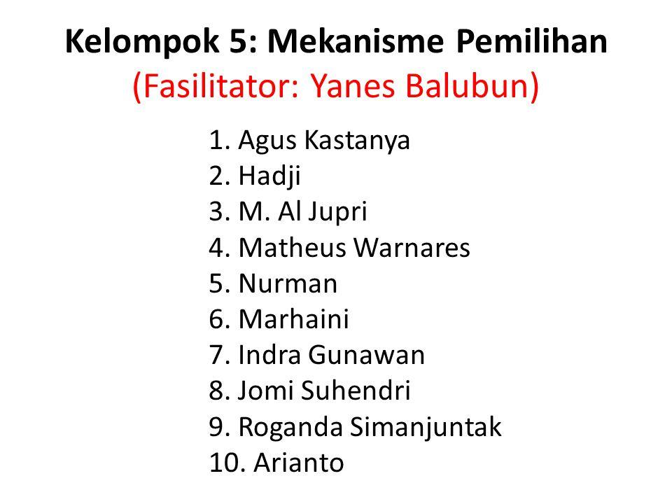 Kelompok 5: Mekanisme Pemilihan (Fasilitator: Yanes Balubun) 1. Agus Kastanya 2. Hadji 3. M. Al Jupri 4. Matheus Warnares 5. Nurman 6. Marhaini 7. Ind