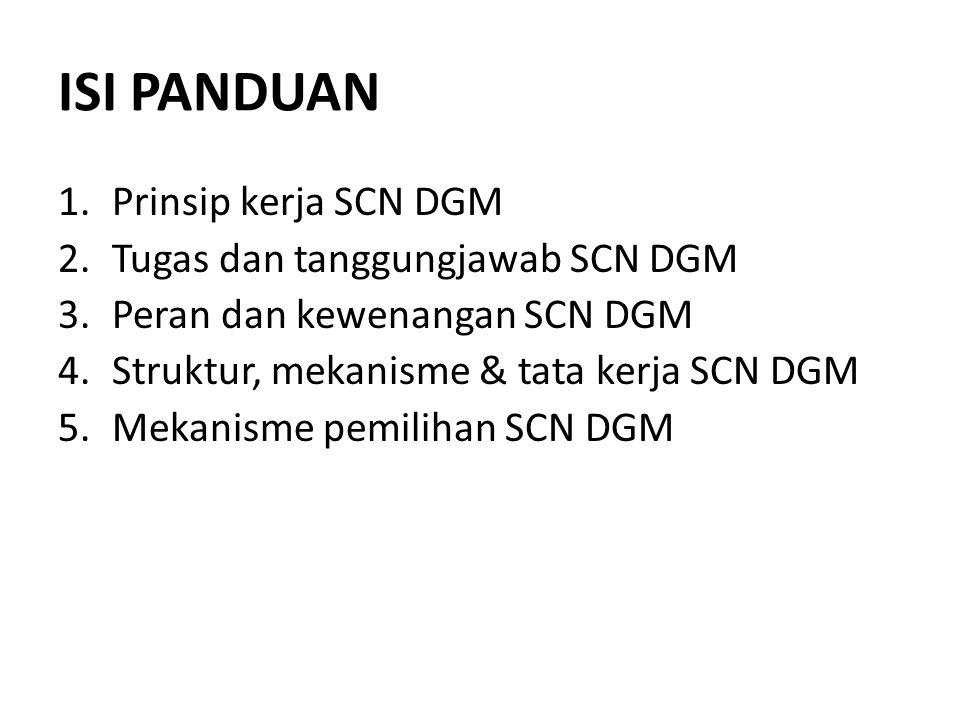 ISI PANDUAN 1.Prinsip kerja SCN DGM 2.Tugas dan tanggungjawab SCN DGM 3.Peran dan kewenangan SCN DGM 4.Struktur, mekanisme & tata kerja SCN DGM 5.Meka