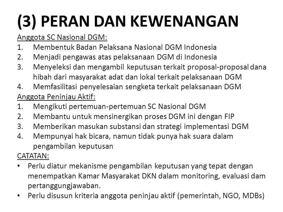 (3) PERAN DAN KEWENANGAN Anggota SC Nasional DGM: 1.Membentuk Badan Pelaksana Nasional DGM Indonesia 2.Menjadi pengawas atas pelaksanaan DGM di Indone
