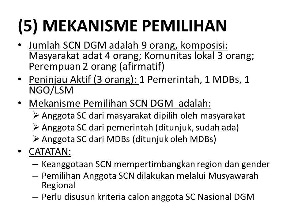 (5) MEKANISME PEMILIHAN • Jumlah SCN DGM adalah 9 orang, komposisi: Masyarakat adat 4 orang; Komunitas lokal 3 orang; Perempuan 2 orang (afirmatif) •