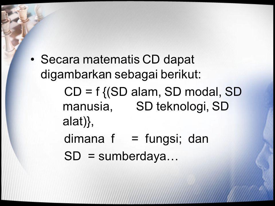 •Secara matematis CD dapat digambarkan sebagai berikut: CD = f {(SD alam, SD modal, SD manusia, SD teknologi, SD alat)}, dimana f = fungsi; dan SD = s