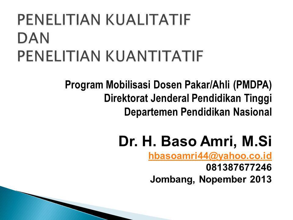Program Mobilisasi Dosen Pakar/Ahli (PMDPA) Direktorat Jenderal Pendidikan Tinggi Departemen Pendidikan Nasional Dr.