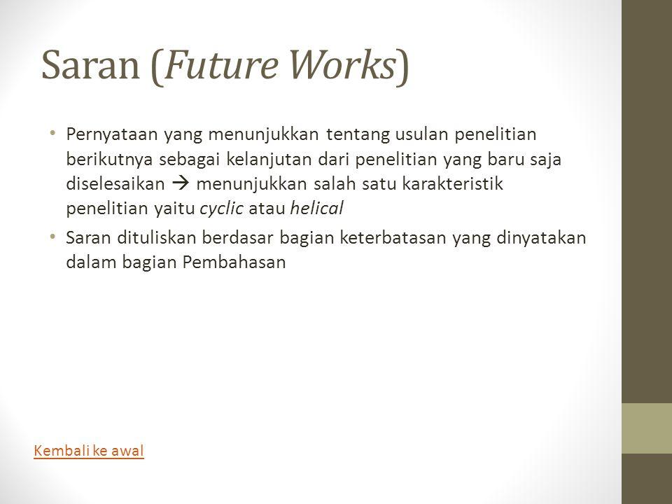 Saran (Future Works) • Pernyataan yang menunjukkan tentang usulan penelitian berikutnya sebagai kelanjutan dari penelitian yang baru saja diselesaikan
