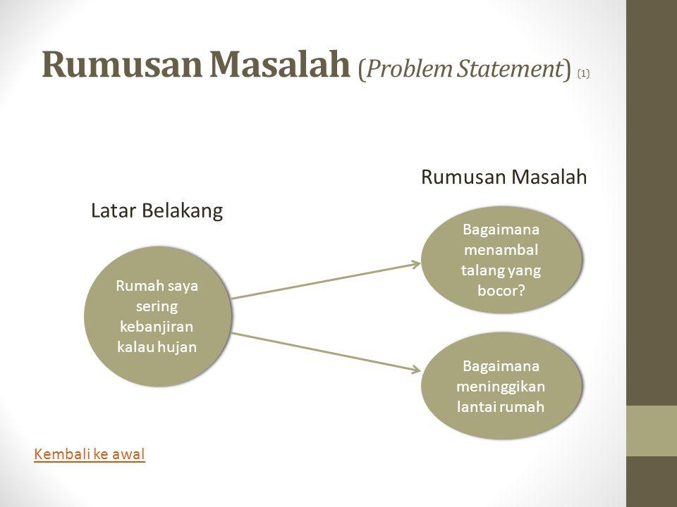 Rumusan Masalah (Problem Statement) (1) Rumah saya sering kebanjiran kalau hujan Bagaimana menambal talang yang bocor? Bagaimana meninggikan lantai ru